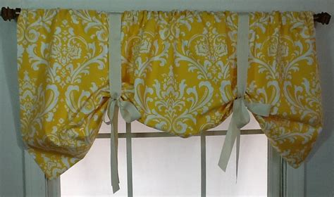 brown tie up curtains damask tie up valance in brown gold navy grey or by viedejolie