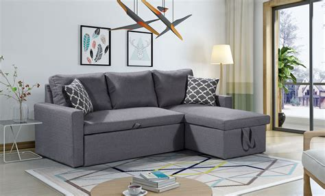 3 in 1 sofa bed zara reversible sectional sofa bed storage grey
