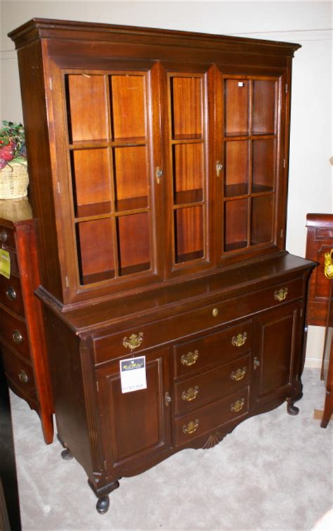 Solid mahogany 2 piece china cabinet For Sale   Antiques.com   Classifieds