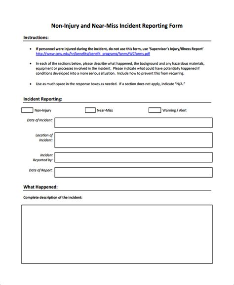 Non Injury Incident Report Template 10 Incident Reporting Forms Sle Templates