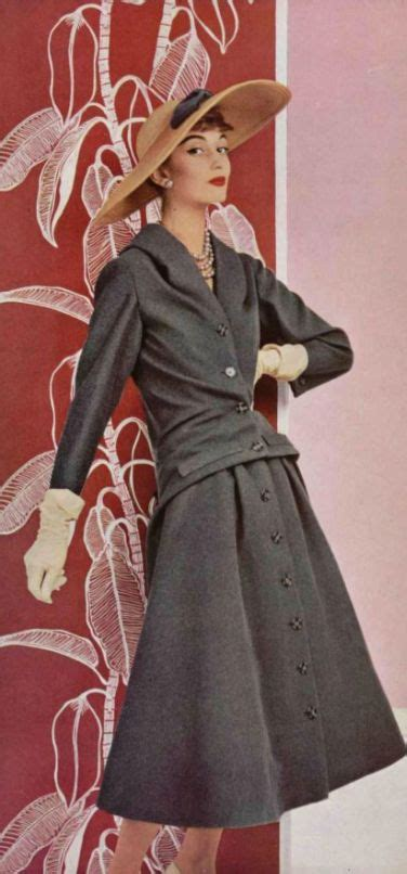 fashion suited for a mid fifties slightly overweight woman 1955 christian dior mid 50s designer couture grey suit
