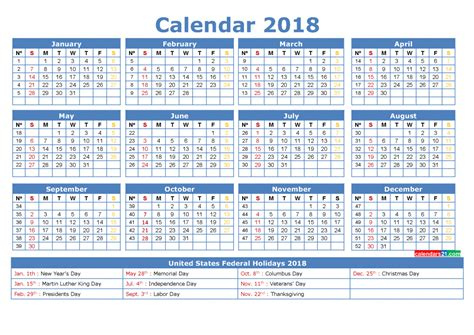 Calendar 2018 With Week Numbers Pdf 2018 Calendar With Week Numbers Printable Pdf Image