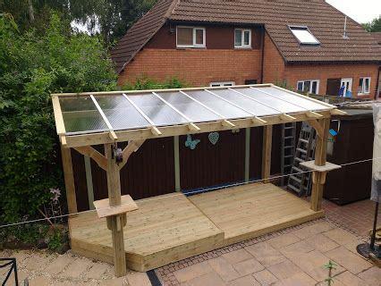 bespoke heavy duty wooden pergola  clear roofing