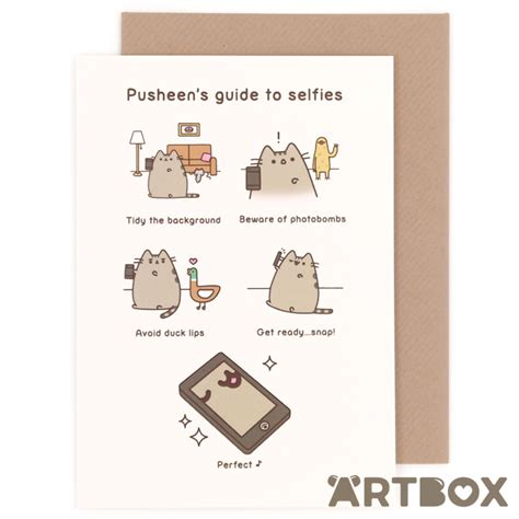 Pusheen Birthday Card Buy Pusheen The Cat Guide To Selfies Greeting Card At Artbox