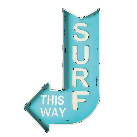 Wall Mural Nursery surf metal arrow wall sign in blue 50 x 80cm maisons du