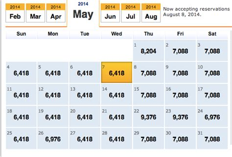 Flight Calendar Southwest Fare Calendar Calendar Template 2016