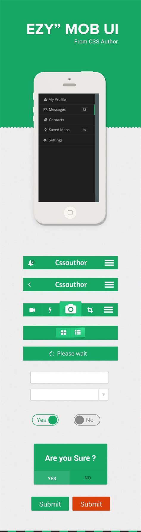 mobile user interface design ezy a free mobile ui design kit psd 187 css author