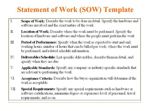 Statement Of Work Template 5 free statement of work templates word excel pdf