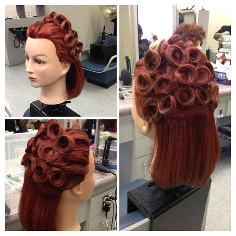 hairstyles done on a mannequin with green hair up do pin curls mannequin styles pinterest curls and