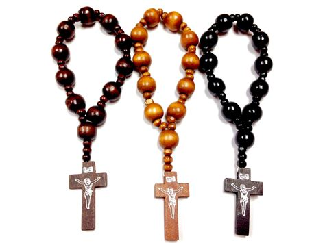 beaded rosary brown stretchable wood beaded rosary bracelet cross