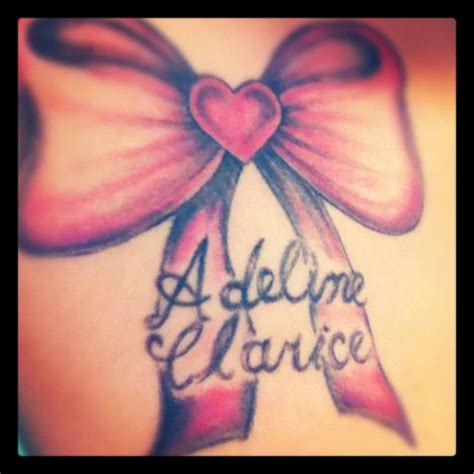 tattoo ideas daughters name bow and my daughters name first tattoo tattoos