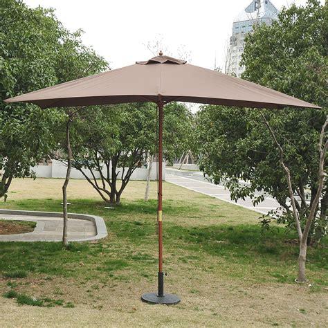 Canopy Umbrellas For Patios Outsunny 7 X10 Wooden Rectangle Market Patio Sun Umbrella Garden Parasol Outdoor Sunshade