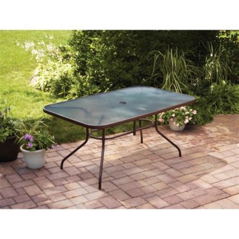 Walmart Patio Table Mainstays Courtyard Creations Glass Top Outdoor Dining Table Brown Walmart