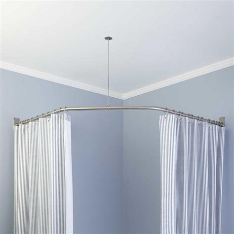 corner shower curtain rod ceiling support 60 x 26 chrome l corner shower rod includes ceiling