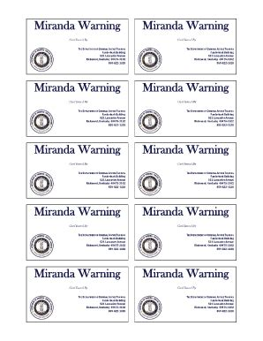 printable rights card miranda warning printable form fill online printable