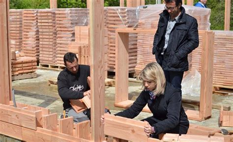 Life sized lincoln logs wooden bricks make building a house crazy easy