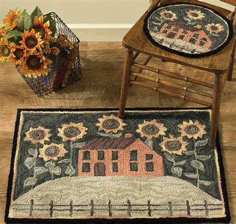 House Rugs by House And Sunflowers Hooked Rug