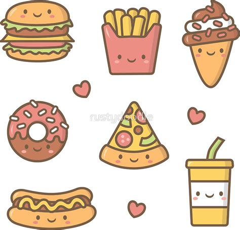 imagenes de comida chatarra kawaii quot kawaii love junk food doodles quot stickers by rustydoodle