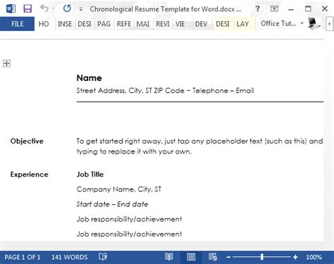 How To Create Chronological Resume In Word Chronological Resume Template Word