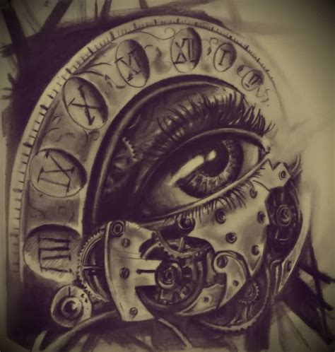 clock tattoos designs the eye clock design ideas