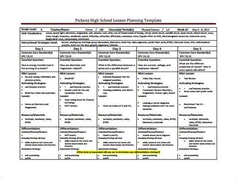 sle lesson plan template for high school sle