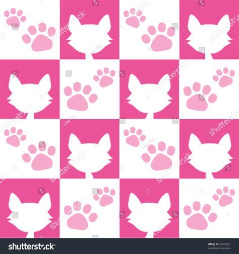 pink kitty pattern seamless pink cat pattern stock vector illustration