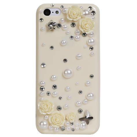 iphone 5c delicate 3d pearl crystal bling case in
