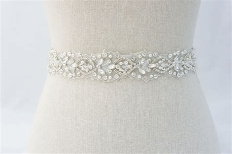 Wedding Dress Belts by Rhinestone Bridal Sash Ivory Bridal Sash Bridal Belt