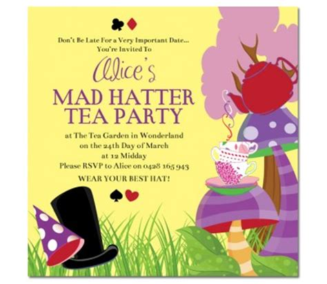 mad hatter tea invitations templates mad hatters tea invitations