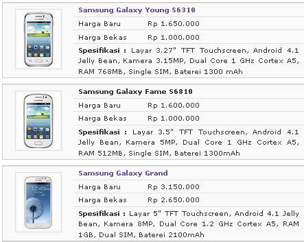 Ueg Harga daftar harga samsung galaxy terbaru all software
