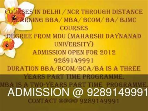 Delhi Mba Correspondence Courses by Mba Bba Bca 9289149991 Correspondence Part Time