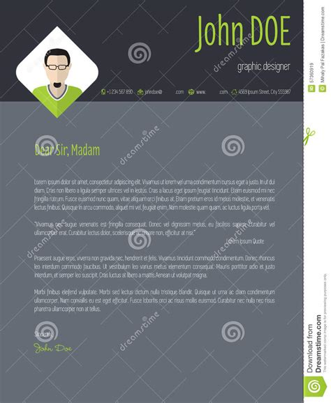Cool Cover Letter Designs by Cool Resume Cover Letter Cv Template Stock