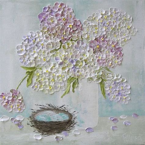 fresh lavender hydrangea s oil painting quot shabby chic mixed hydrangeas quot palette knife impasto
