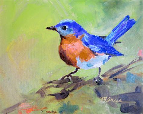 birds painting painting by the lake blue bird sold