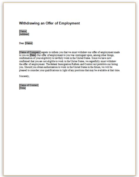 Offer Withdrawal Letter Employer This Sle Letter Provides Notice That An Employment Offer Is Being Withdrawn Because Of