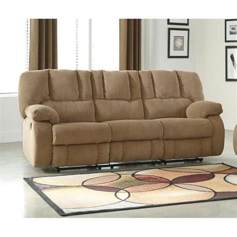 cloth reclining sofa ashley roan fabric reclining sofa in mocha 3860288