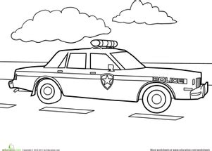 preschool coloring pages of cars preschool vehicles worksheets police car coloring page