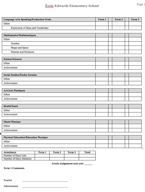 blank report card template madame feuille february 2013