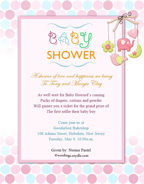 baby shower invitation wording wordings and messages