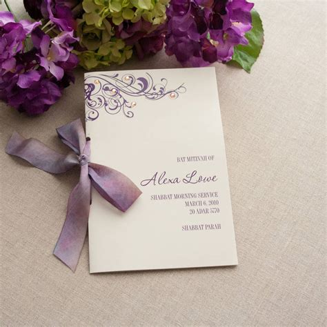 Alexa Bat Mitzvah Booklet Program Wedding Programs Stationeries Gallery Get Inspired Bat Mitzvah Program Template