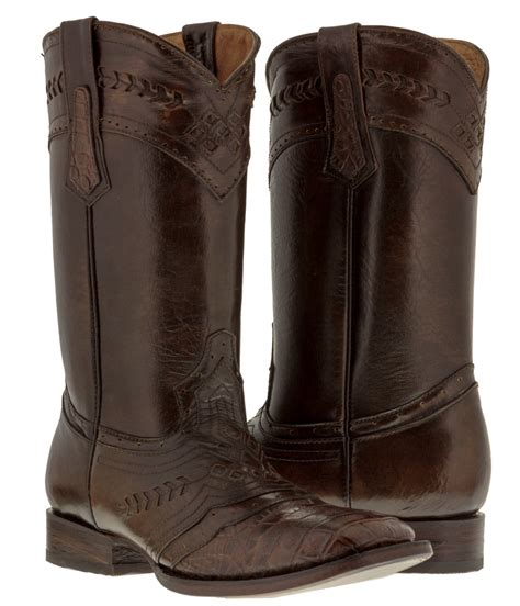 Sepatu Country Boots Casual Brown Originla Handmade mens brown distressed leather cowboy boots crocodile belly alligator western ebay