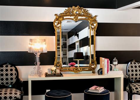 black and white striped wall gold mirror l home