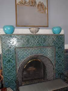 moroccan tile on fireplace decorating living