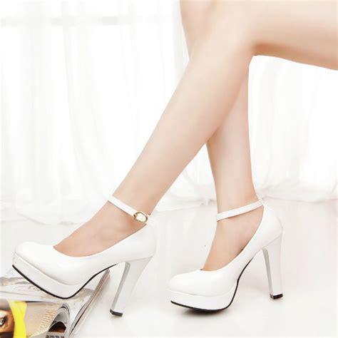 High Heel Brukat White white womens high heels platform ankle shoes stiletto us size 8 ebay