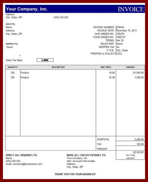 invoice format in excel sheet free download free