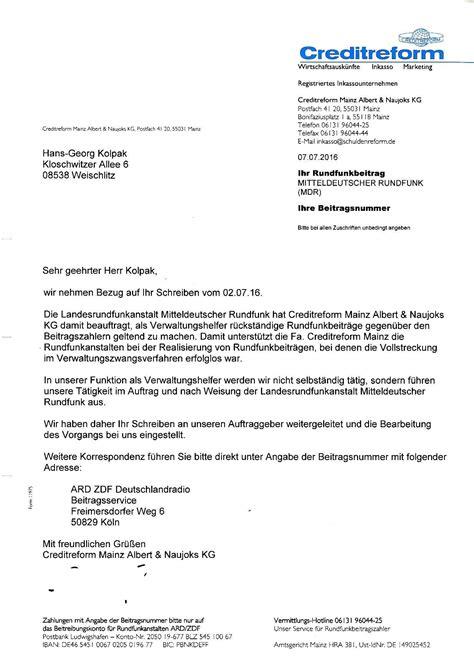 Schreiben An Inkasso Muster Meine Schreiben An Beitragsservice Und Konsorten Dzig De Deutsche Zivilgesellschaft