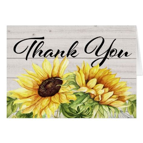 Sunflower Thank You Note Cards