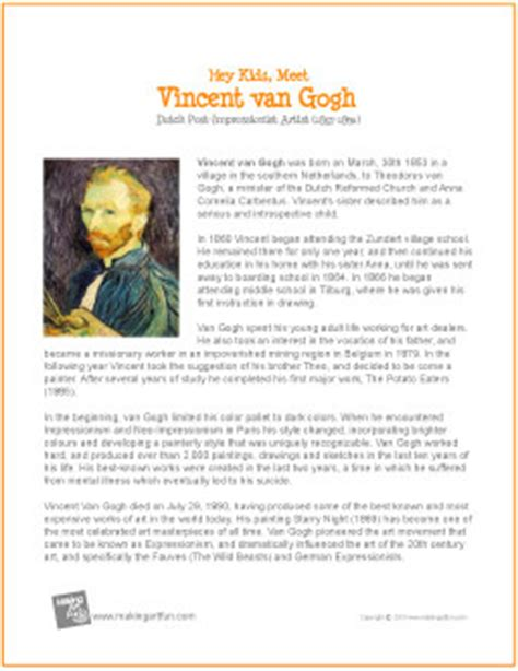 artist mini biography vincent van gogh printable biography for kids flickr