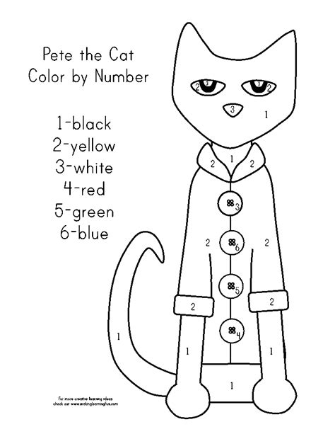 Pete The Cat Worksheets by Color By Number Grade Ideas School