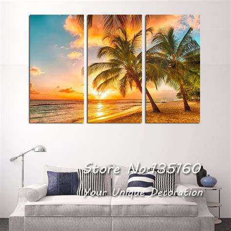 beach painting picture triple paintings  living room bedroom sea sunset coconut tree wall art